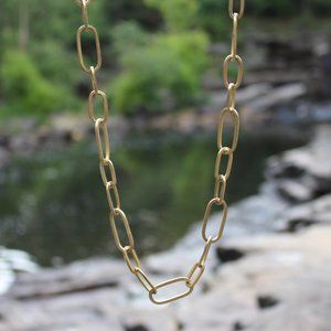 Jewelry - Simple Long Chunky Matte Gold Large Link Necklace